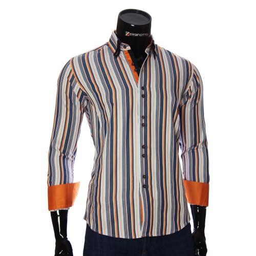 Мужская приталенная рубашка в полоску BEL 1880-12