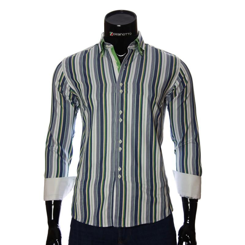 Мужская приталенная рубашка в полоску BEL 1880-14
