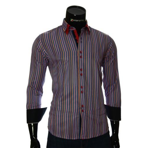 Мужская приталенная рубашка в полоску BEL 1880-16