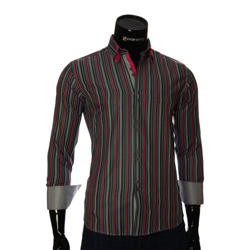 Мужская приталенная рубашка в полоску BEL 1880-19