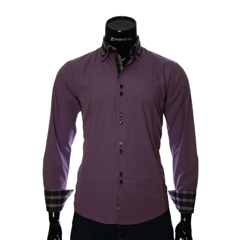 Мужская однотонная приталенная рубашка LG 1882-1