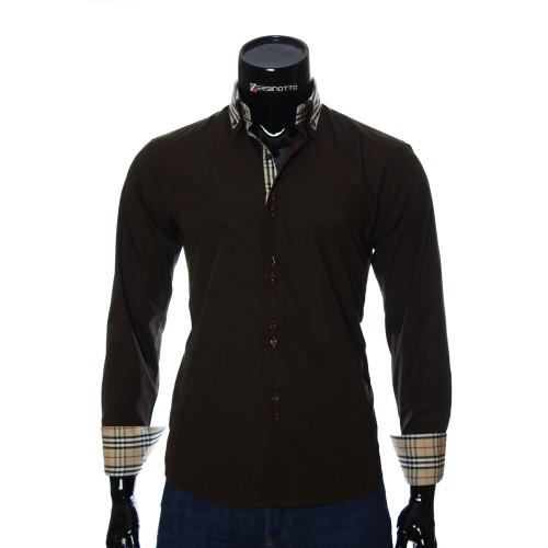 Мужская однотонная приталенная рубашка LG 1882-2