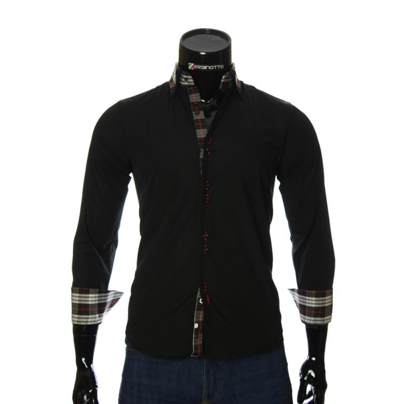 Мужская однотонная приталенная рубашка LG 1882-3
