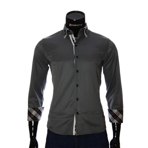 Мужская однотонная приталенная рубашка MM 1883-4
