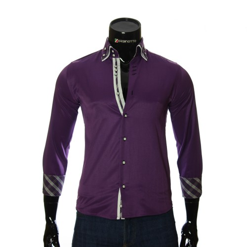 Мужская однотонная приталенная рубашка MM 1883-5
