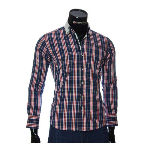 Мужская приталенная рубашка в клетку MM 1883-7