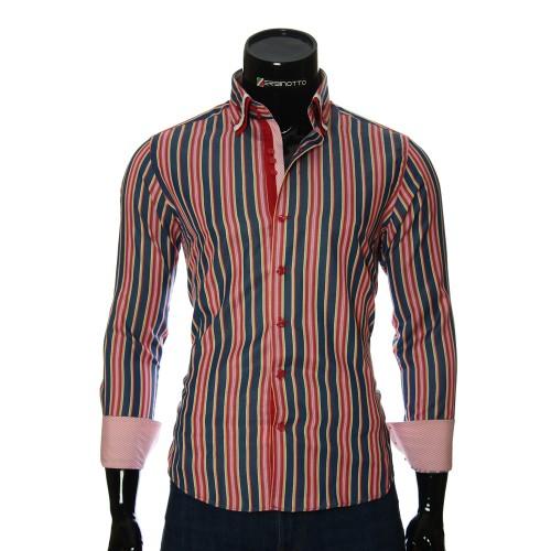 Мужская приталенная рубашка в полоску VEN 1885-1