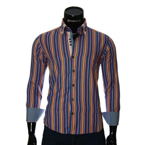 Мужская приталенная рубашка в полоску VEN 1885-2