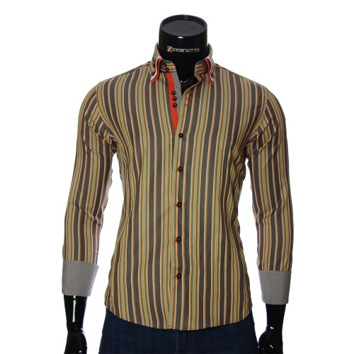 Мужская приталенная рубашка в полоску VEN 1885-3