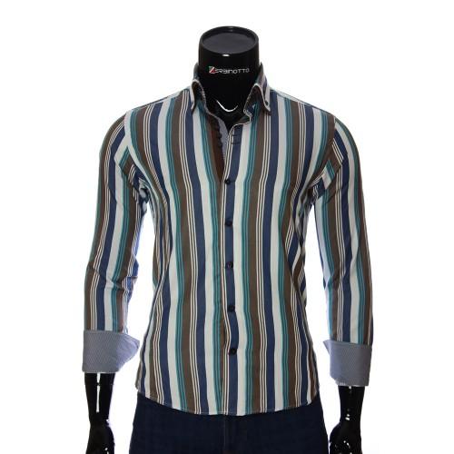 Мужская приталенная рубашка в полоску VEN 1885-5