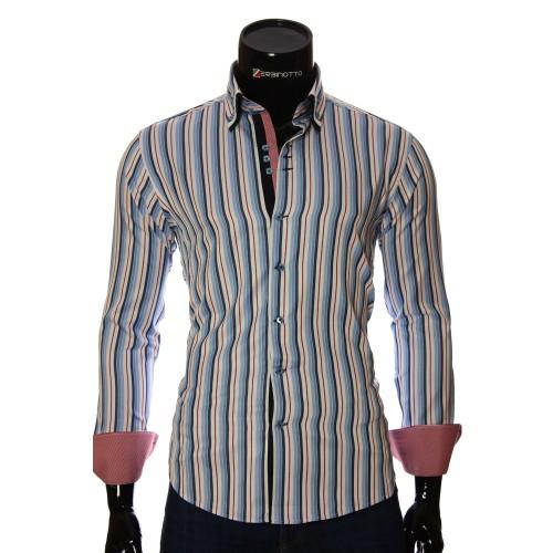 Мужская приталенная рубашка в полоску VEN 1885-9