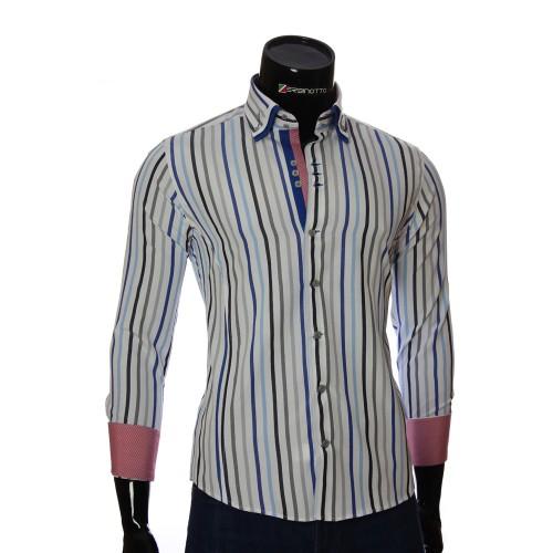 Мужская приталенная рубашка в полоску VEN 1885-12