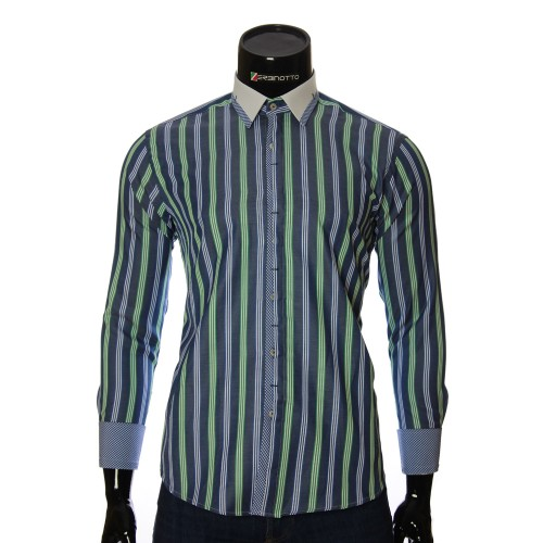 Мужская приталенная рубашка в полоску BEL 1896-10