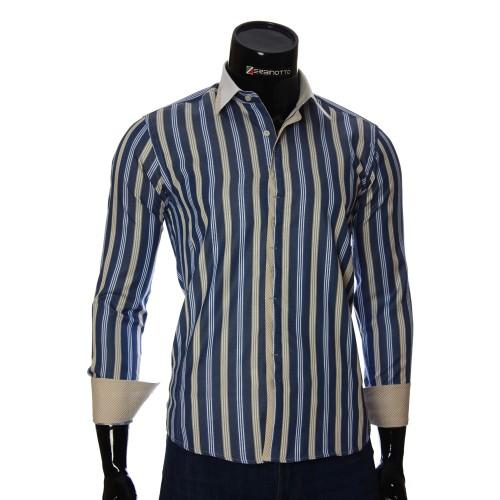 Мужская приталенная рубашка в полоску BEL 1896-11