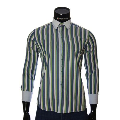 Мужская приталенная рубашка в полоску BEL 1896-13