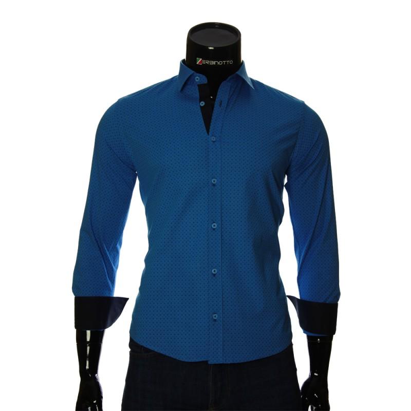 00a69df5693f68a Мужская голубая рубашка в узор горошек с раскосым воротником.