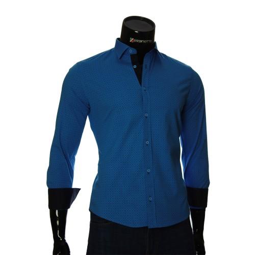 Мужская приталенная рубашка в узор BEL 1916-9