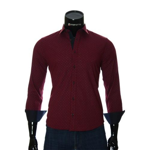 Мужская приталенная рубашка в узор BEL 1916-11