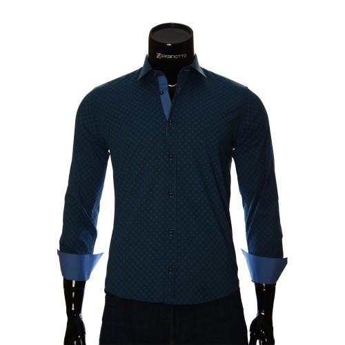 Мужская приталенная рубашка в узор BEL 1916-15
