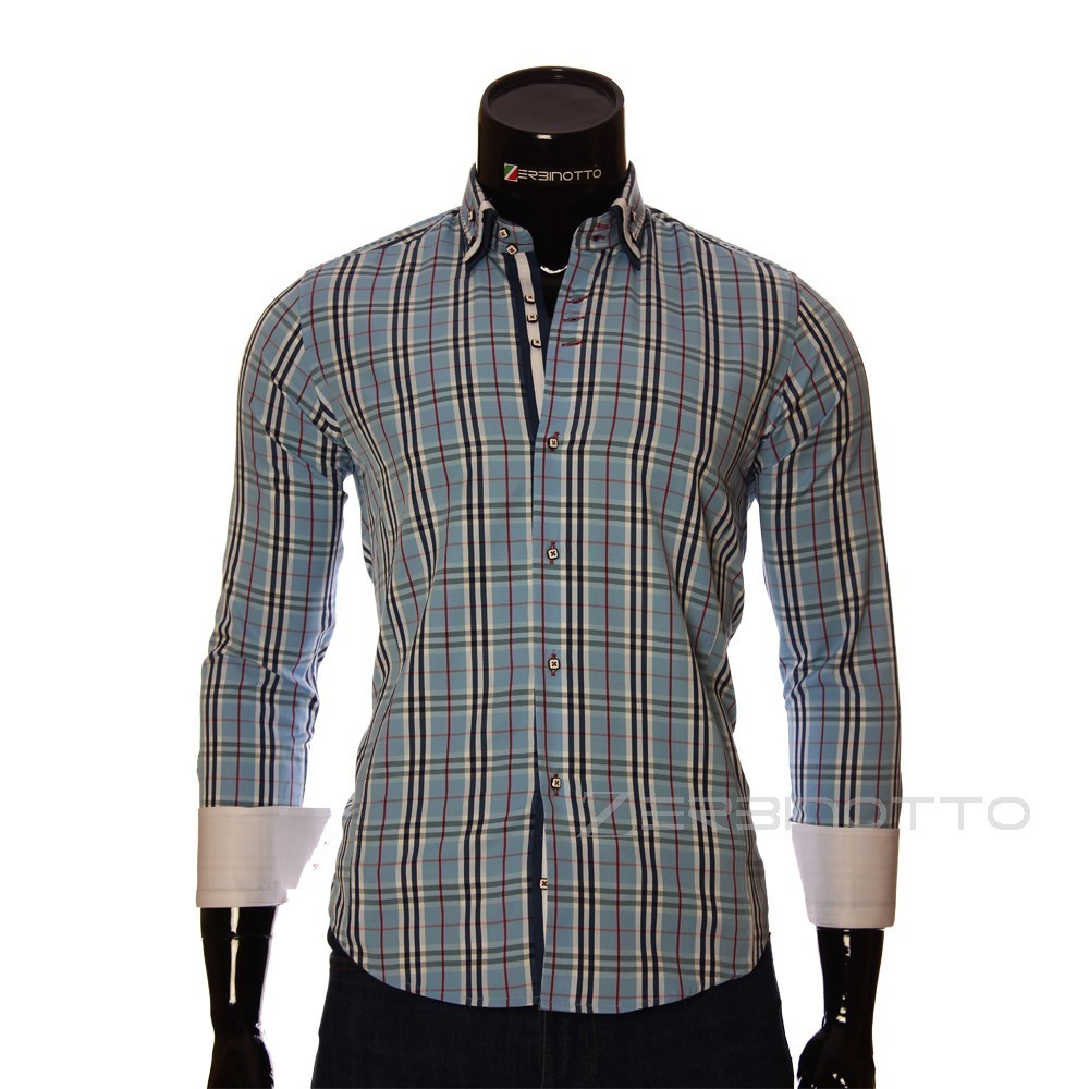 Mens Stylish Shirt With A Double Collar In Blue Burberry Pattern