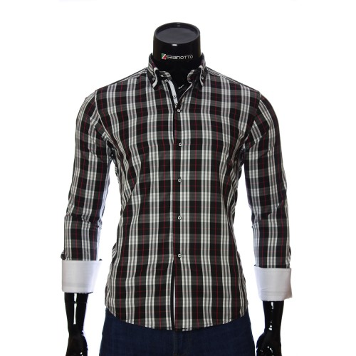 Men's black checkered shirt DS 1918-25