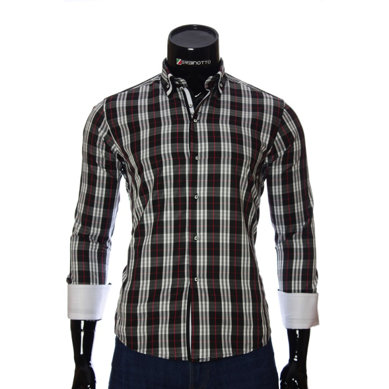 779490c4a951 Men's stylish shirt with a double collar in white Burberry pattern.