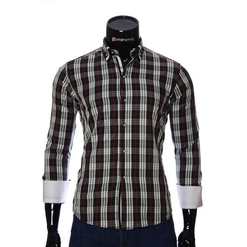 Мужская приталенная рубашка в клетку DS 1918-25