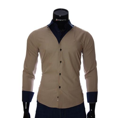 Мужская однотонная приталенная рубашка LG 1928-1