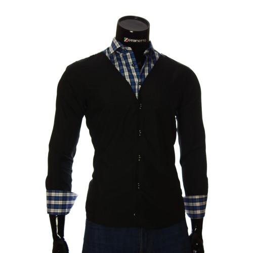 Мужская однотонная приталенная рубашка LG 1928-3