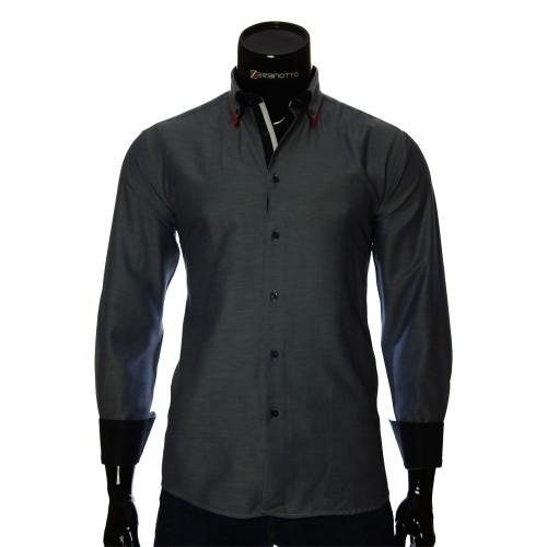 Мужская однотонная приталенная рубашка LG 1991-1