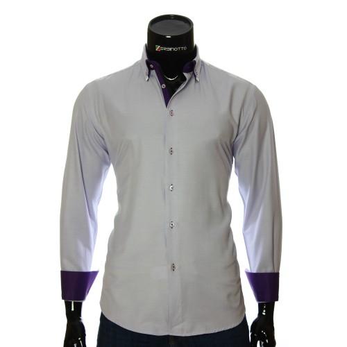Мужская однотонная приталенная рубашка LG 1991-2
