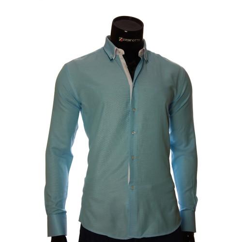 Мужская однотонная приталенная рубашка LG 1991-4
