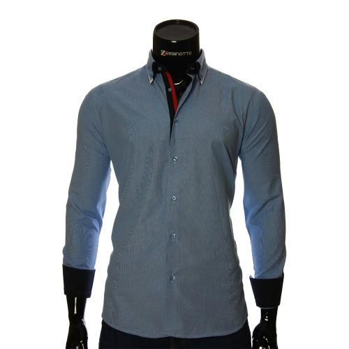 Мужская однотонная приталенная рубашка LG 1991-5