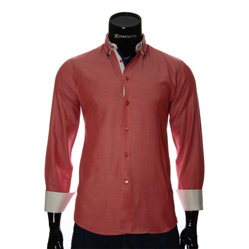 Мужская однотонная приталенная рубашка LG 1991-6