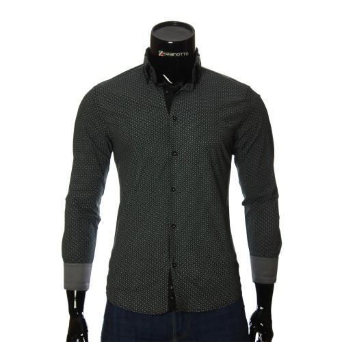 Мужская приталенная рубашка в узор NP 2453-1