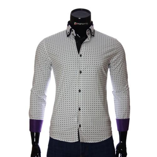 Мужская приталенная рубашка в узор NP 2453-2