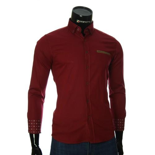 Мужская однотонная приталенная рубашка NP 2908-1
