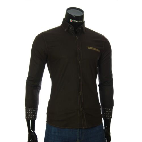 Мужская однотонная приталенная рубашка NP 2908-2
