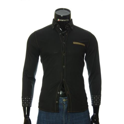 Мужская однотонная приталенная рубашка NP 2908