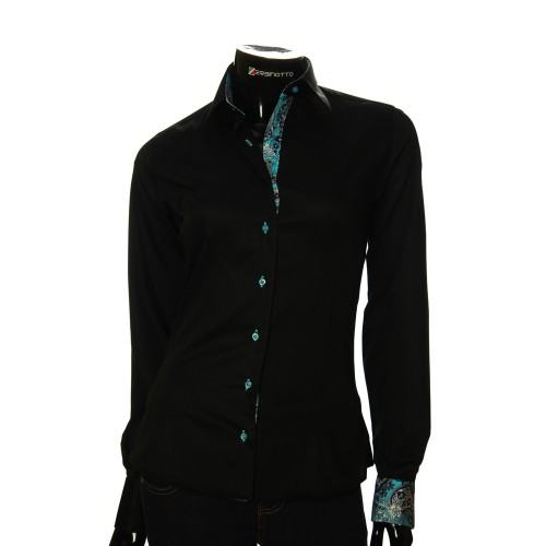 Женская однотонная приталенная рубашка IZ 01
