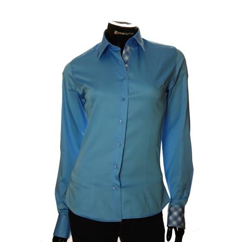 Женская однотонная приталенная рубашка IZ 08