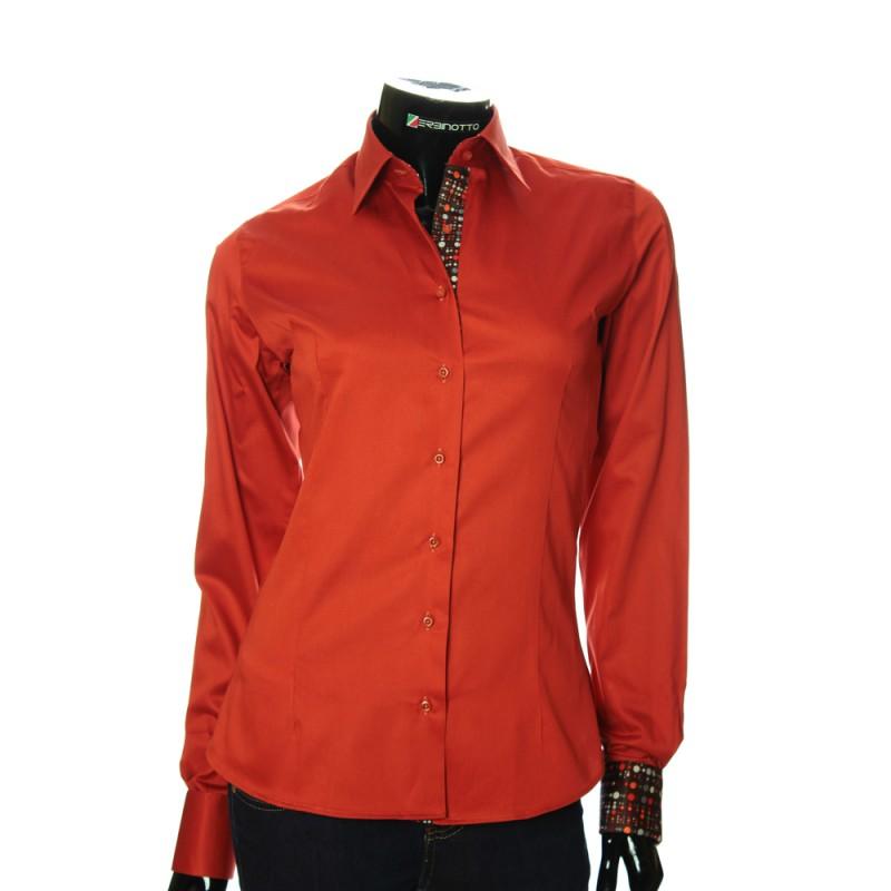 Shirt Slanting Cuffs With Women's Collar Terracotta And A hdsQtCr