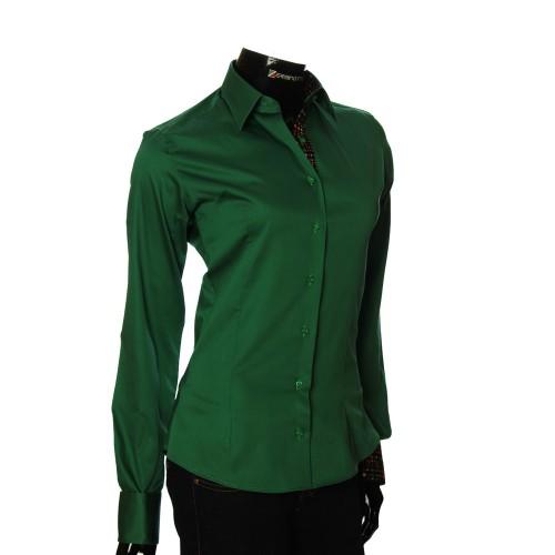 Женская однотонная приталенная рубашка IZ 011