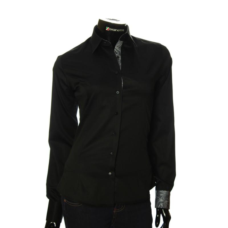 Женская однотонная приталенная рубашка IZ 028