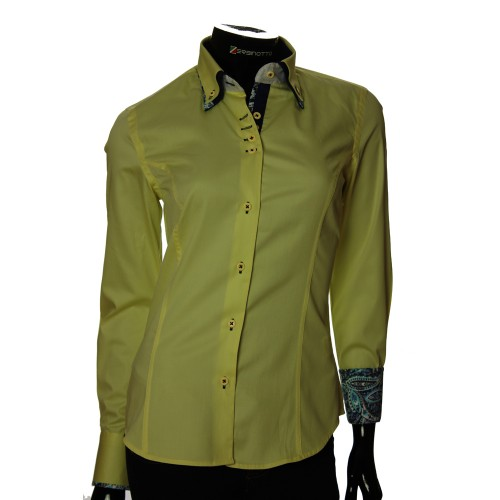 Double Collar Satin Cotton Yellow Shirt TNL 0889