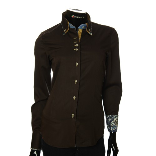 Double Collar Satin Cotton Brown Shirt TNL 05-04-006
