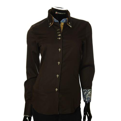 Женская однотонная приталенная рубашка TNL 05-04-006