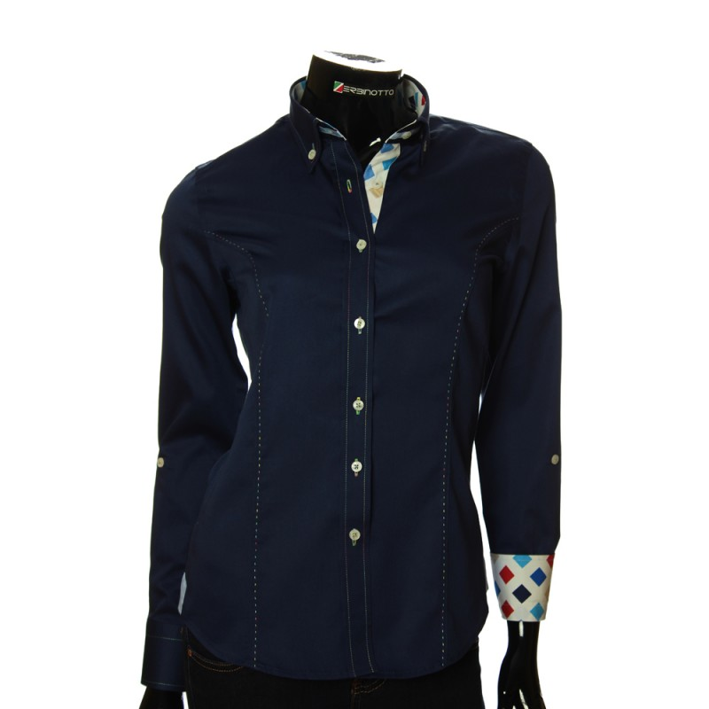 Женская однотонная приталенная рубашка TNL 05-14-073