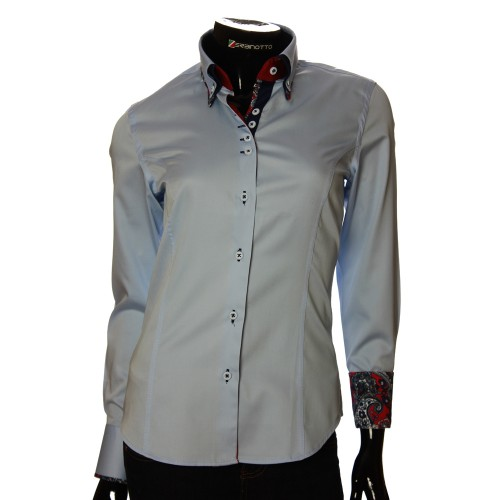 Double Collar Satin Cotton Blue Shirt TNL 1040