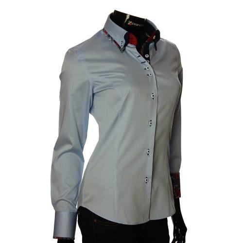 Женская однотонная приталенная рубашка TNL 1040